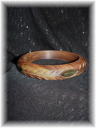 Wooden Bangle with Golden Leaf Inlay