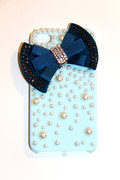 Blue iPhone 4 4S Cell Phone Case with Teal Bow
