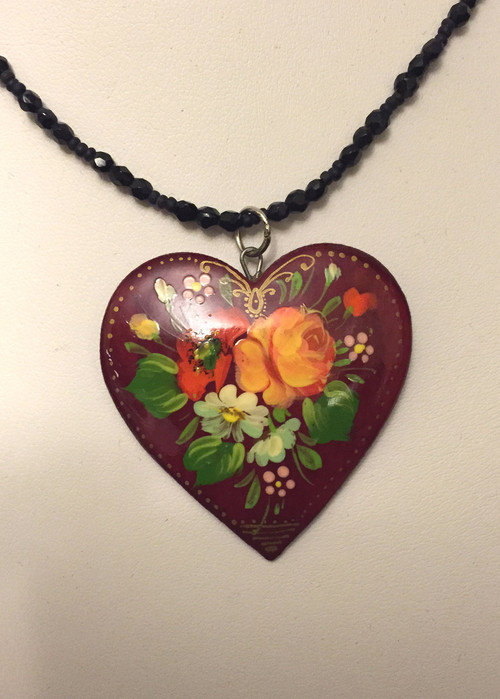 Orange Rose Red Heart Necklace