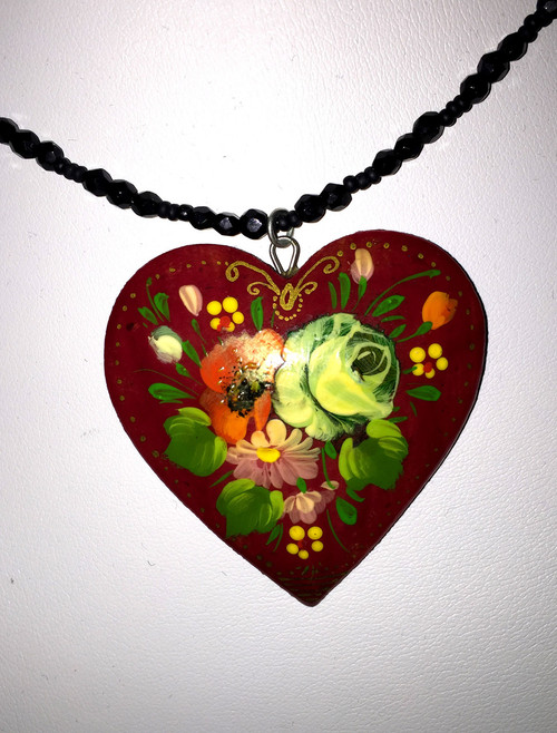 White Rose Russian Heart Necklace