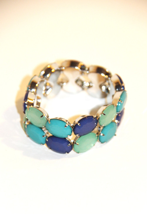 Teal, Lime Green and Purple Stretch Bracelet