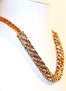 Golden Mesh Tube Rhinestone Necklace