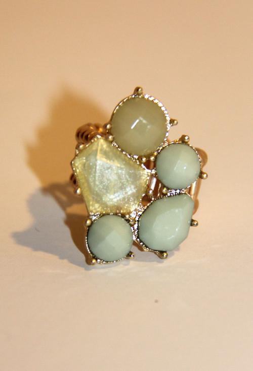 Mint Green Mosaic Fashion Ring
