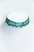 Green and Blue Beaded Choker with Drops