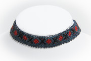 Blue Beaded Choker Necklace Red Accents and Hematite Trim