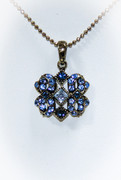Blue Rhinestone Pendant Necklace with Antique Bronze Finish