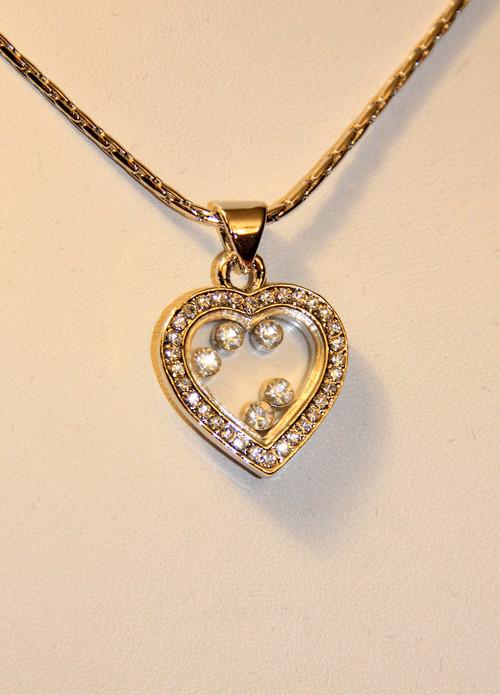 Rhinestones inside heart charm pendant necklace