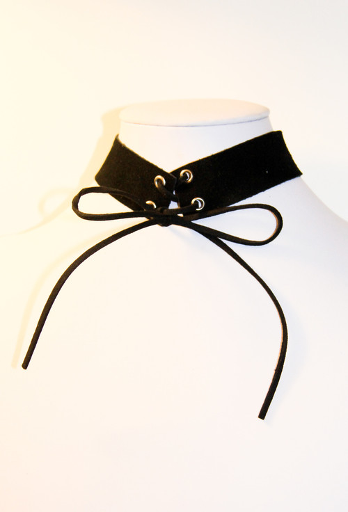 Black Suede Choker Necklace with Corset Ties
