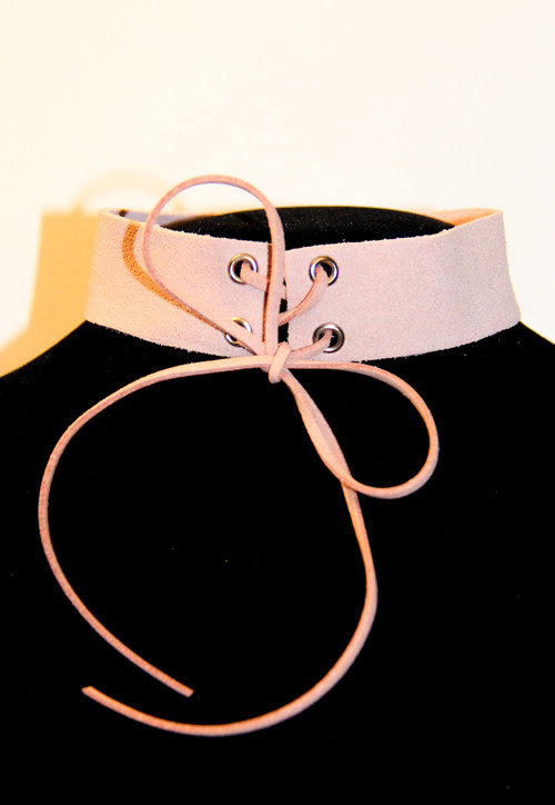 Dusty Pink Suede Choker Necklace with Corset Ties
