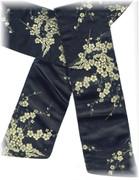 Black Sash Belt with Golden Oriental Design