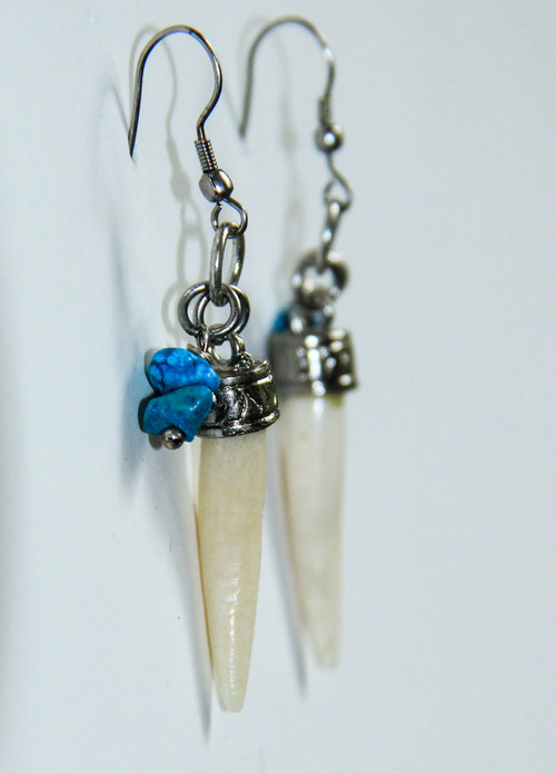 Tusk Earrings with Turquoise Lucky Charm Chip Drop