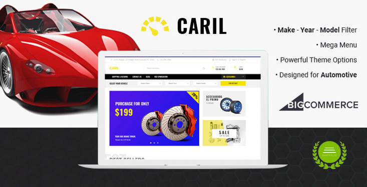 Preview of CARIL - Cars Auto Parts Automotive BigCommerce Theme