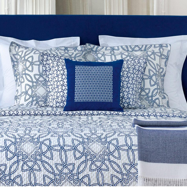 Yves Delorme Entrelacs Marine Quilted Coverlet