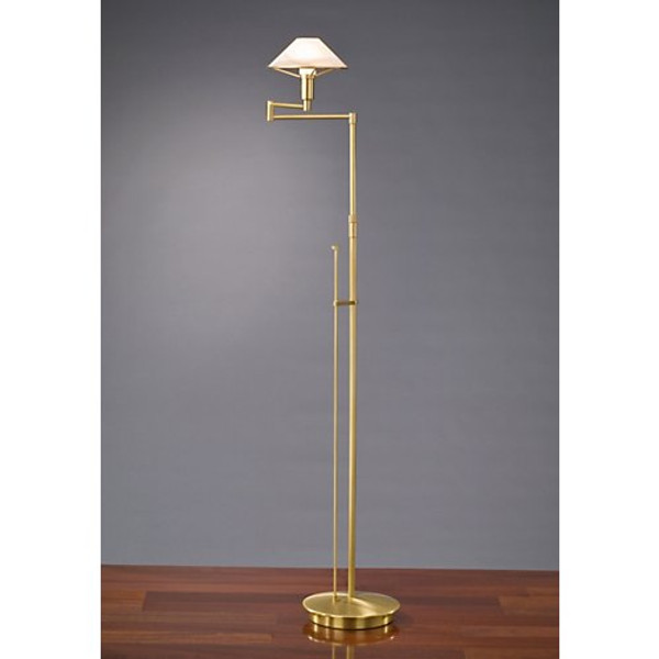 holtkoetter aging eye swing arm floor lamp in antique brass with glass shade