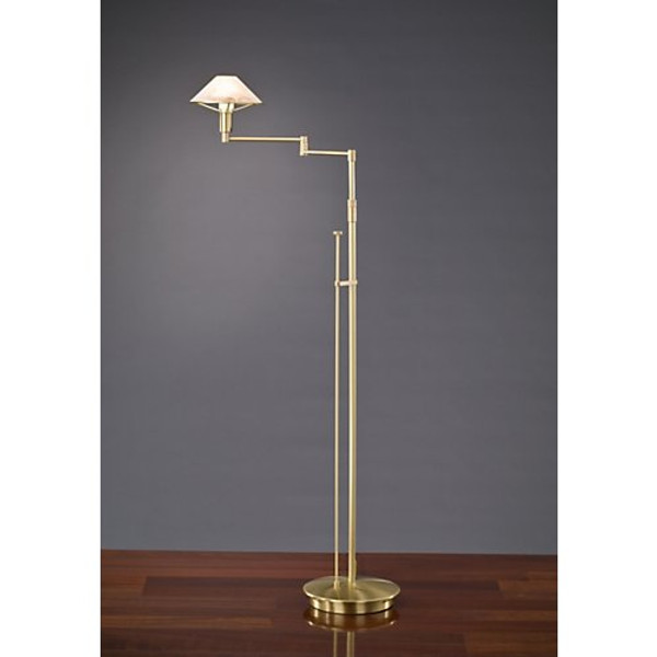 Holtkoetter Aging Eye Swing Arm Floor Lamp in Brushed Brass with Glass Shade