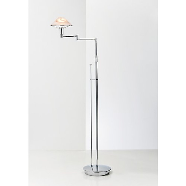Holtkoetter Aging Eye Swing Arm Floor Lamp in Chrome with Glass Shade