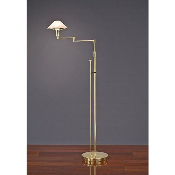 Holtkoetter Aging Eye Swing Arm Floor Lamp in Polished Brass with Glass Shade