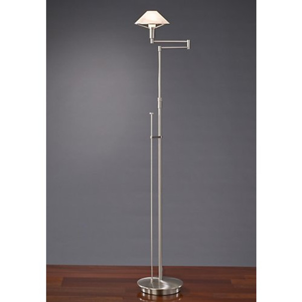 Holtkoetter Aging Eye Swing Arm Floor Lamp in Satin Nickel with Glass Shade