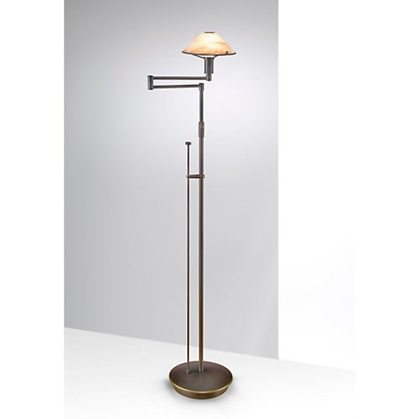 Holtkoetter Aging Eye Swing Arm Floor Lamp in Hand Brushed Old Bronze