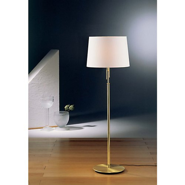 Holtkoetter Illuminator Floor Lamp in Brushed Brass with Fabric Shade #2545