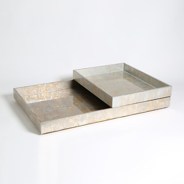 Studio A Champagne Silver Leaf Rectangle Tray