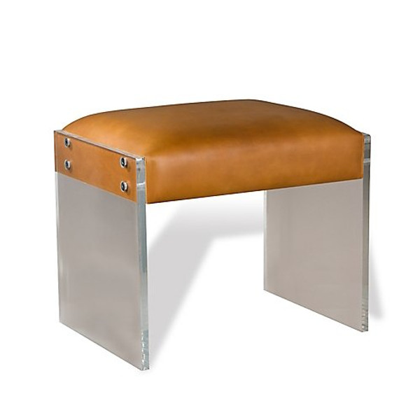 Interlude Home Aiden Leather Stool