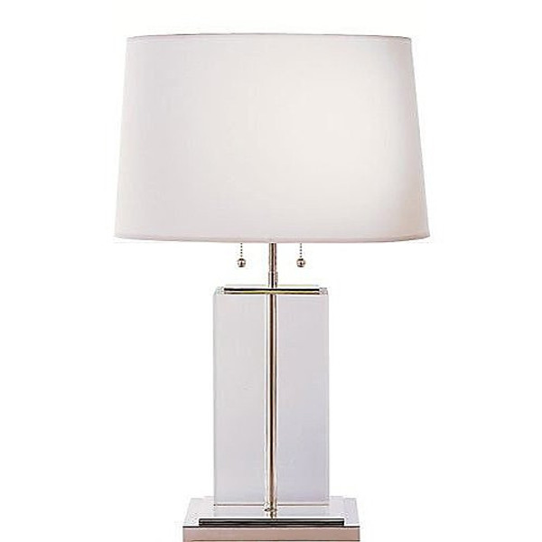 Thomas O'Brien Large Crystal Block Table Lamp with Cotton Shade