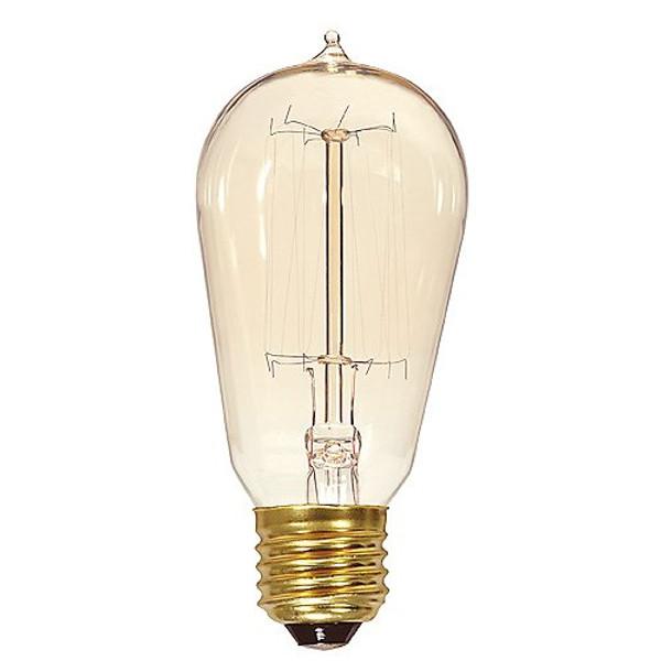 Satco 40W ST19/E26 Vintage Cage Incandescent Bulb Clear