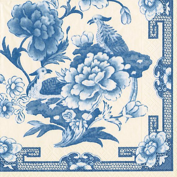 Caspari Blue & White Lunch Napkin