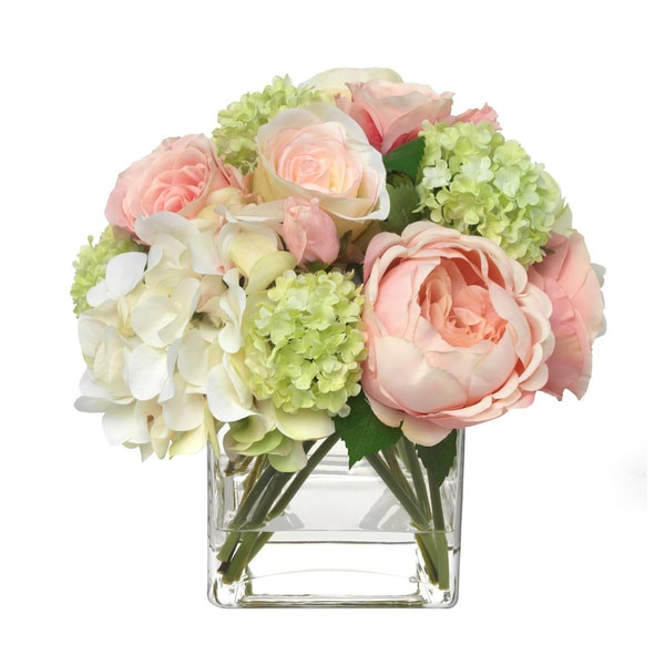 Diane James Home Blooms Pale Pink Hydrangea and Rose Bouquet