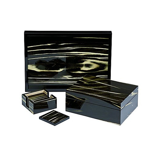 Tizo Black and Ivory Wood Tray