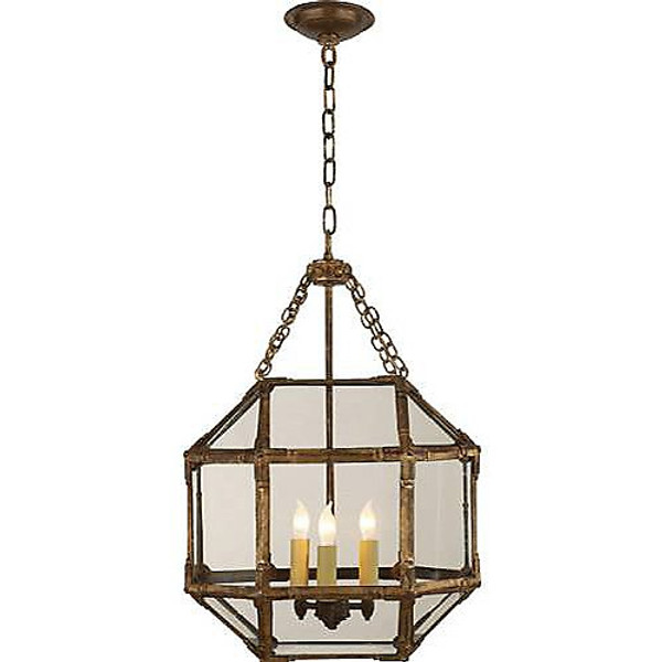 Visual Comfort Morris Small Lantern in Gilded Iron with Clear Glass