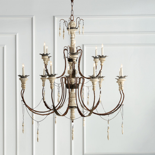 Visual Comfort Percival Large Chandelier in Natural Rusted Iron and Old White Wood