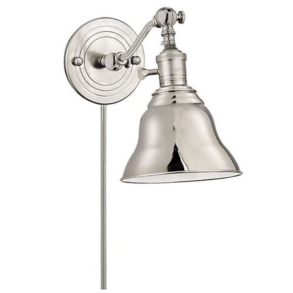 Visual Comfort E.F. Chapman Boston 1 Light Swing-Arm Wall Light in Polished Nickel with Polished Nic