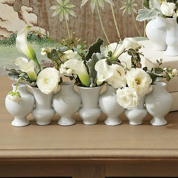 Global Views Chinoise White Crackle Linear Bud Vase