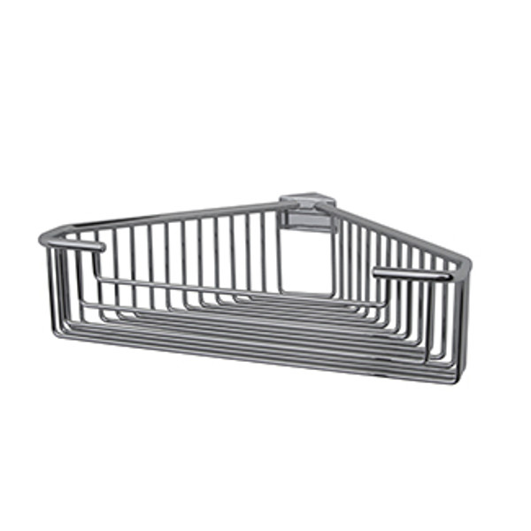 Essentials Chrome Detachable Corner Basket Large Deep Round Rungs