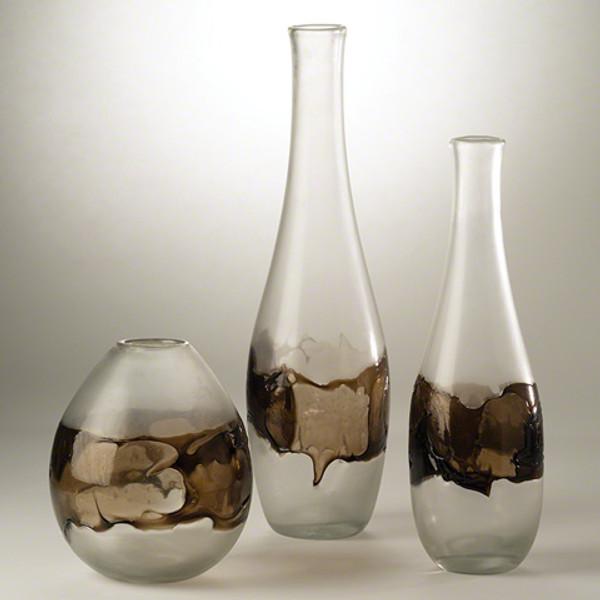 Global Views Small Clear Topaz Molten Glass Bottle