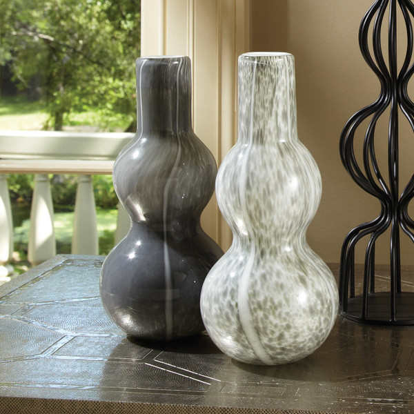 Global Views Dark Grey Two Bubble Vase