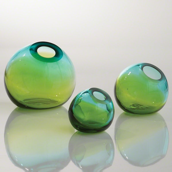 Global Views Large Ombre Aqua Green Ball Vase