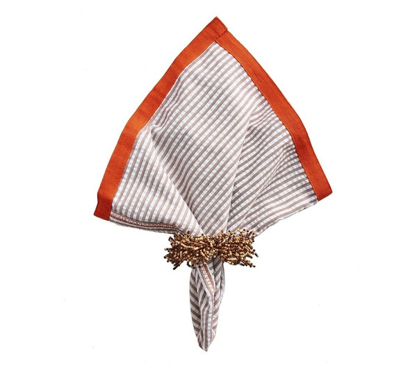 Kim Seybert Seersucker Ribbon Orange/Natural Napkin, Set of 4