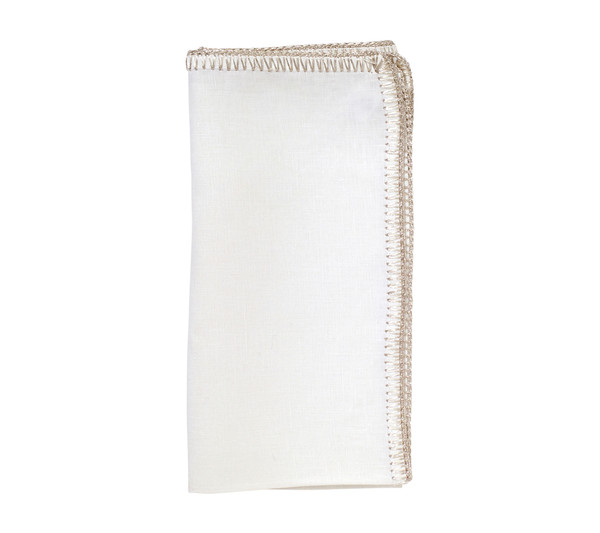 Kim Seybert Crochet Edge White/Silver Napkin, Set of 4