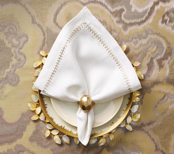Kim Seybert Herringbone Gold/Silver Napkin, Set of 4