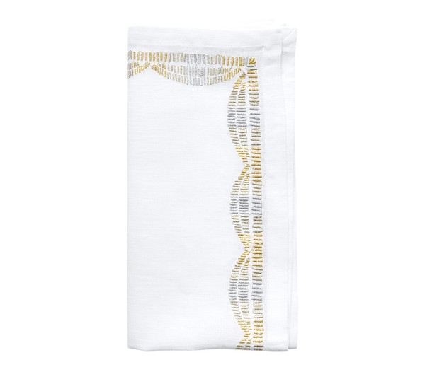 Kim Seybert Patina Gold/Silver Napkin, Set of 4