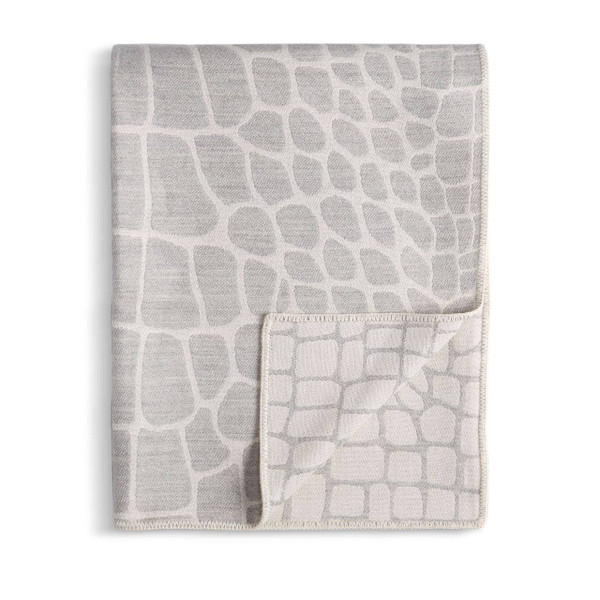L'Objet Crocodile Jacquard Baby Alpaca Throw - Ecru + Grey