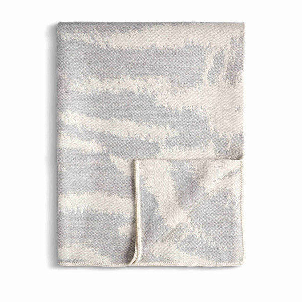 L'Objet Tiger Jacquard Baby Alpaca Throw - Ecru + Grey