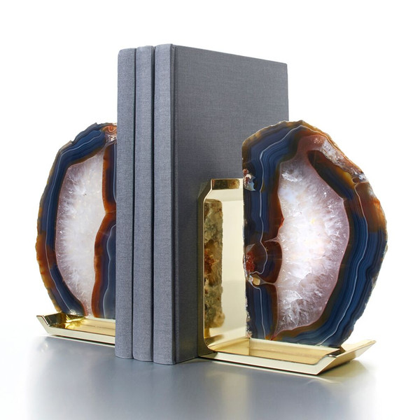 Anna by RabLabs Natural Agate Glass Bookends