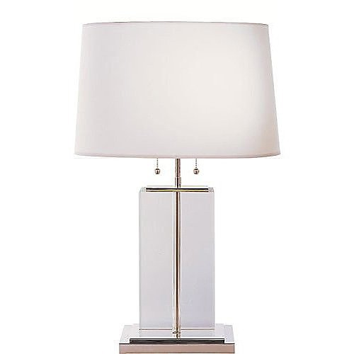 thomas o 39 brien large crystal block table lamp with cotton. Black Bedroom Furniture Sets. Home Design Ideas