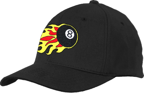 Ozone Billiards 8 Ball Flames Hat - Black - Free Personalization