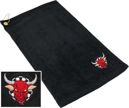 Ozone Billiards Dartboard Bull Towel - Black - Free Personalization