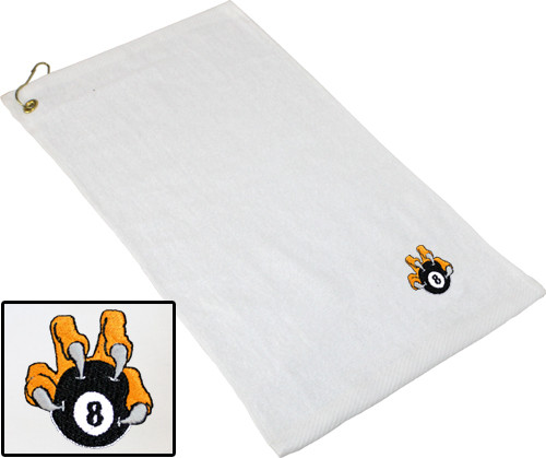 Ozone Billiards 8 Ball Talon Towel - White - Free Personalization